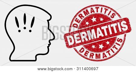 Vector Outline Headache Icon And Dermatitis Seal Stamp. Blue Round Distress Seal With Dermatitis Tit