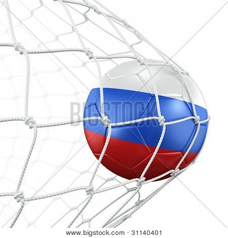 3d rendering of a Russian soccer ball in a net