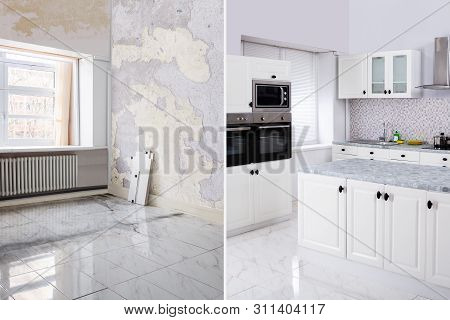 Before And After Of Modern Kitchen Apartment Room In Renovated House