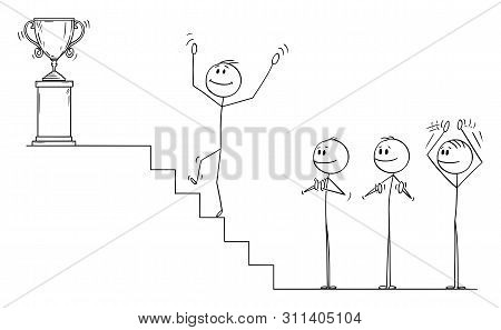 Vector Cartoon Stick Figure Drawing Conceptual Illustration Of Businessman Climbing Up The Stairs Fo