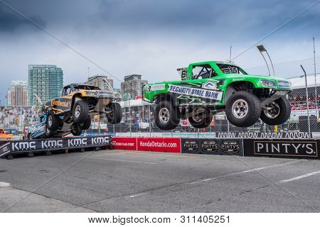July 13, 2019 - Toronto, Ontario, CAN: The Super Stadium Truck Challenge teams take to the track to race for the Hondy Indy Toronto at Streets of Toronto in Toronto Ontario.