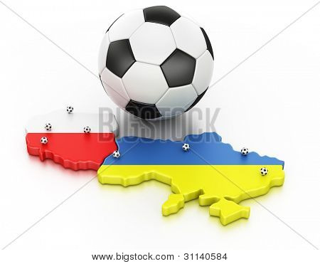 3d rendering of Poland and Ukraine, the hosts of Euro 2012. Locations of the stadiums marked out with small balls