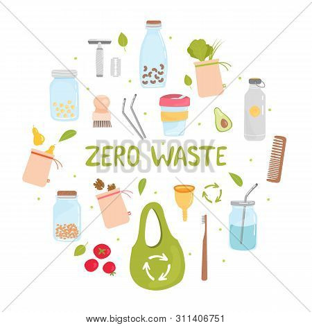 Zero Waste. Set Of Zero Waste Elements - Reusable Shopping Bag, Wooden Toothbrush And Brushes, Menst