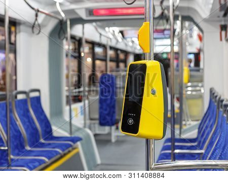 Bus With A Validator For Self-payment. Fare Control Without A Conductor. Non-cash Transport Payment.