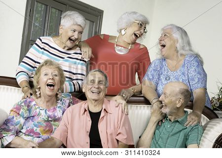Six Amused Senior Friends Laughing Out Loud Around An Antique Couch