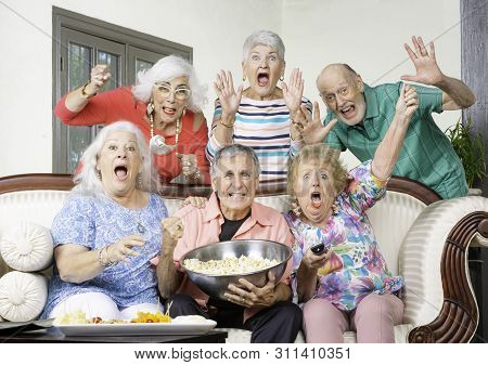 Six Excited Senior Friends Reacting To Television