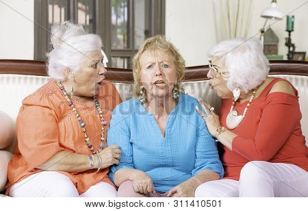 Two Senior Ladies Reacting To Their Angry Friend