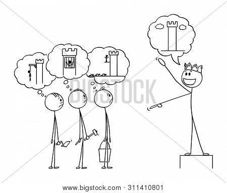 Vector Cartoon Stick Figure Drawing Conceptual Illustration Of King Speaking About The Great Buildin