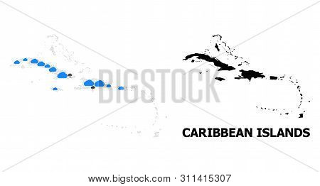 Climate Collage Vector Map Of Caribbean Islands. Geographic Collage Map Of Caribbean Islands Is Orga