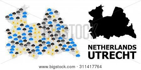 Climate Collage Vector Map Of Utrecht Province. Geographic Collage Map Of Utrecht Province Is Constr