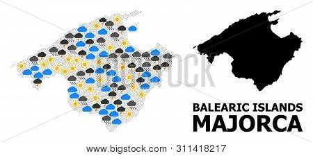 Climate Mosaic Vector Map Of Majorca. Geographic Mosaic Map Of Majorca Is Combined With Randomized R
