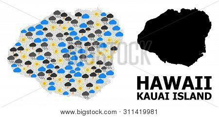 Climate Mosaic Vector Map Of Kauai Island. Geographic Mosaic Map Of Kauai Island Is Created From Sca