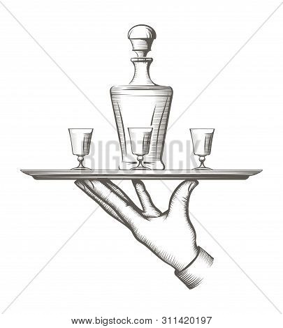 Vintage Tray With Drinks. Old Style Waiter Tray With Drink Carafe And Glasses, Catering And Waiterin