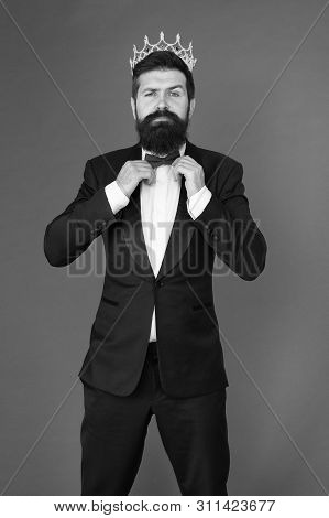 Luxury. Big Boss. Formal Event. King Crown. Egoist. Businessman In Tailored Luxury Tuxedo And Crown.