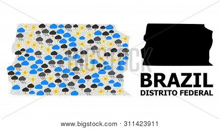 Weather Pattern Vector Map Of Brazil - Distrito Federal. Geographic Collage Map Of Brazil - Distrito