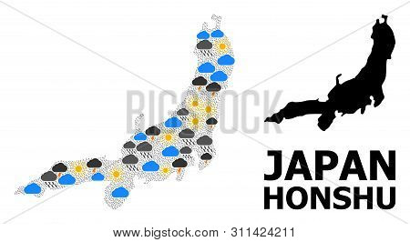 Weather Mosaic Vector Map Of Honshu Island. Geographic Mosaic Map Of Honshu Island Is Composed With
