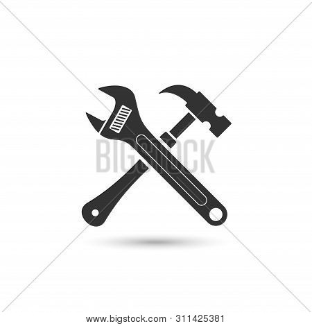Wrench And Hammer Vector Icon Isolated On White Background From Construction Collection. Symbol Of R