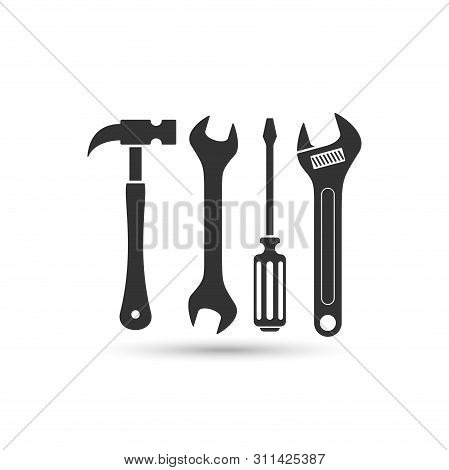 Hammer And Screwdriver And Wrench Vector Icon Isolated On White Background From Construction Collect