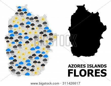 Climate Collage Vector Map Of Azores - Flores Island. Geographic Mosaic Map Of Azores - Flores Islan