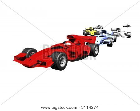 Red 3D Race Car Rear View On White Background