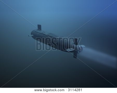 3D Submarine Rear View