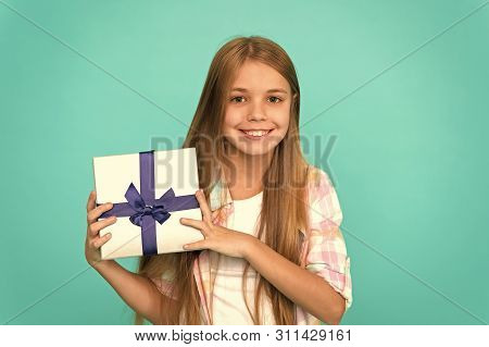 Pleasant Surprise. Happy Birthday Concept. Girl Kid Hold Birthday Gift Box. Every Kid Dream About Su