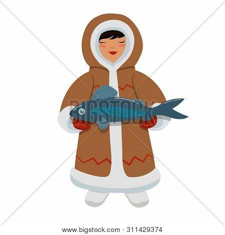 Eskimo Girl With Fish. Vector Image Isolated On White Background.