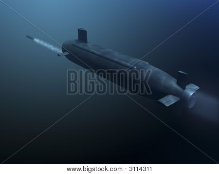 3D Submarine Shooting Missle Rear