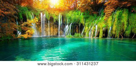 Waterfall Landscape Of Plitvice Lakes Croatia.