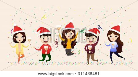 Business People Celebrate Merry Christmas And Happy New Year. People Celebrating And Having Fun. Fla