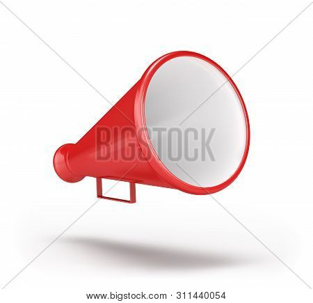 3d Loudspeaker Red. 3d Image. White Background.