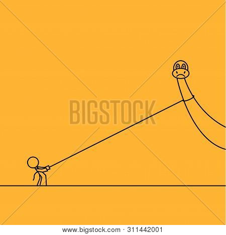 A Dinosaur On A Leash Dragged By A Little Man In A Doodle Style. Cartoon Funny Illustration For Prin