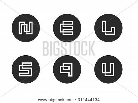 Initial Letter N,e, L, S, Q, U Logo Icon, Set Of Modern Alphabet Icons, White Letters On Black Backg