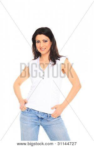 Fotoarchiv von jung, Fit und sexy Frau in Jeans und weisses Oberteil, isolated on white