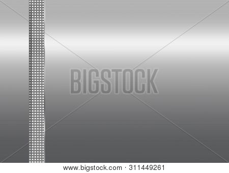Silver Metallic Background With Dotted Vertical Stripe. Ilustration.