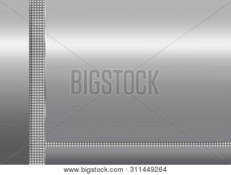 Silver Metallic Background With Dotted Vertical And Horizontal Stripes. Illustration.