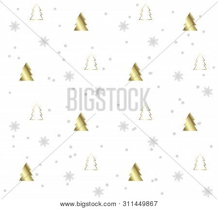 Seamless Pattern With Christmas Trees. Gold Pattern On White Background. Festive Texture. Holiday Xm