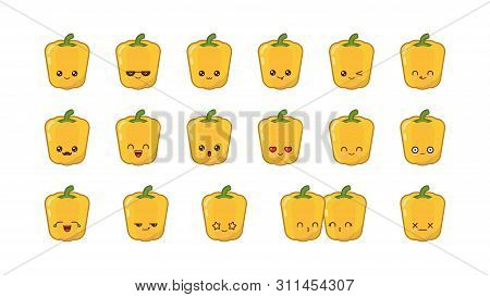 Yellow Bell Pepper Cute Kawaii Mascot. Set Kawaii Food Faces Expressions Smile Emoticons.