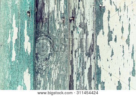 Peeling paint of turquoise green color on the wooden texture background