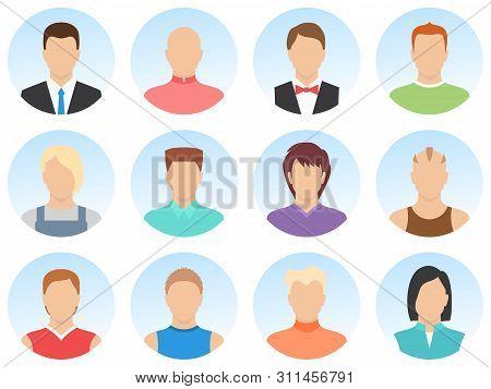Men Avatar Set Isolated On White Background. Simple Shape Men Avatar. Set Of Men Avatar Icons. High