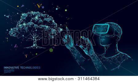 Virtual Digital Biotechnology Tree Engineering Concept. 3d Render Vr Helmet Augmented Reality Vitami