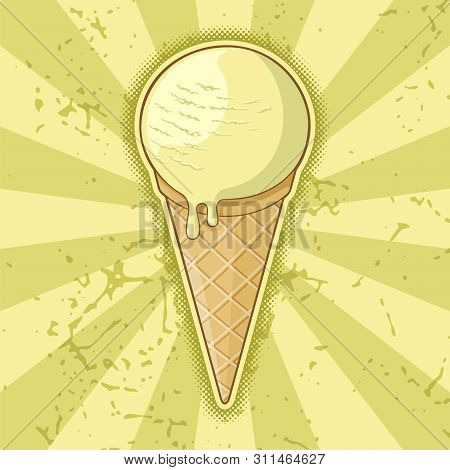 One Ball Ice Cream Cone On Light Yellow Grunge Background.