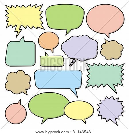 Set Of Colored Vevtor Speech Bubble Icons.