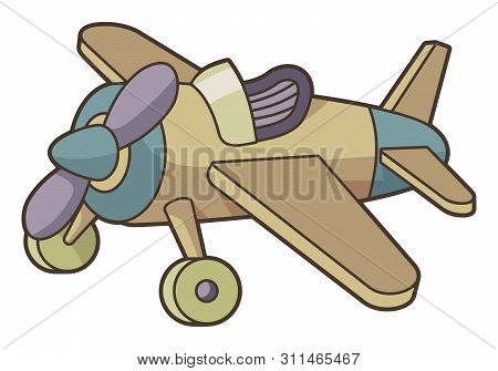 Wooden Toy Aiplane In Vintage Color Palette.