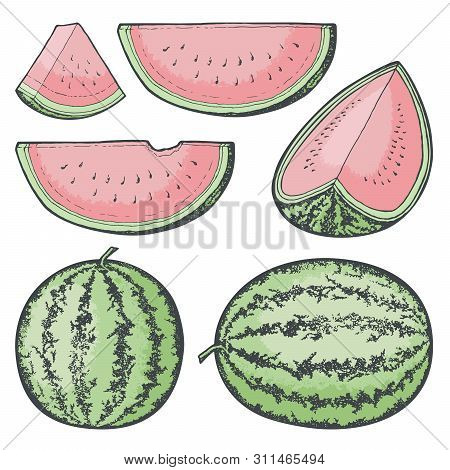 Sketched Red Watermelon Icons. Whole And Slices.