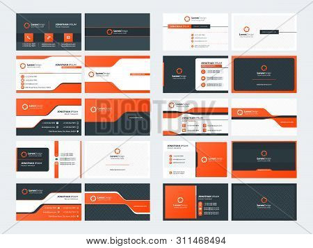 Set Of 10 Double Sided Business Card Templates. Red Color Theme. Stationery Design. Vector Illustrat
