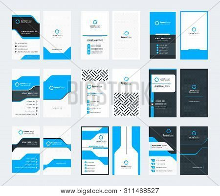 Set Of 9 Double Sided Vertical Business Card Templates. Stationery Design. Vector Illustration