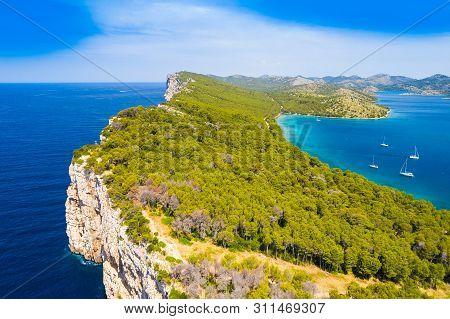 Big Cliffs Above The Sea On The Shore Of Nature Park Telascica, Island Of Dugi Otok, Croatia, Specta