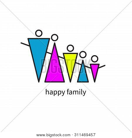 Happy Family Geometric Icon Isolated, Family Holding Hands, Mother Father And Kids, Abstract Flat Lo