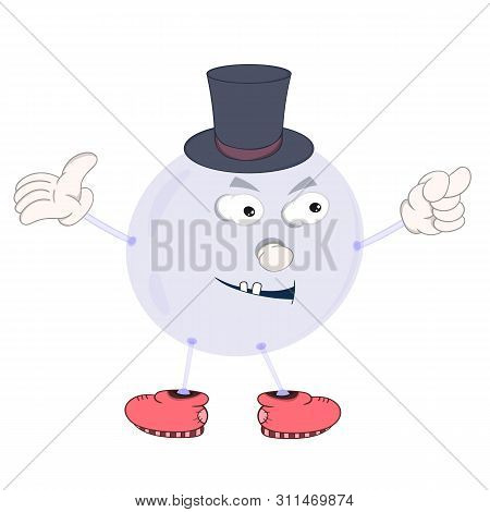 Funny Cartoon Bubble In A Hat With Eyes, Arms, Legs And Mouth Shows An Indecent Gesture.